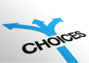 sign with the word choices and arrows